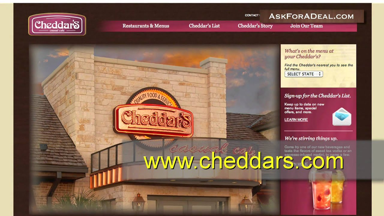 About 3aaa.ml coupons. At Cheddars, one can get various discount offers. Cheddars enable its customers to save with every penny spent as a way of appreciation for support and products recognition. These discounts are made available by use of a Cheddars Coupon and cheddars coupon codes.