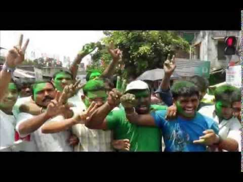 Trinamool supporters celebrate the victory in LS elections