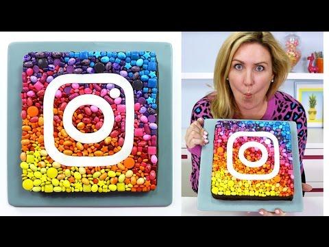 INSTAGRAM BROWNIE CAKE | How to Make a RAINBOW Candy Portrait Chocolate Insta Logo Icon