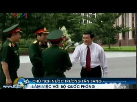Ông Trương Tấn Sang thăm và làm việc với bộ Quốc phòng