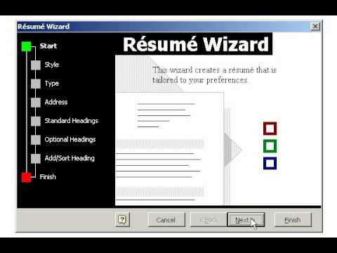Creating a Resume using the Wizard