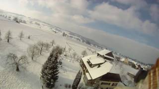 FPV winter drone flying low with a GoPro HD