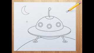 How To Draw A Ufo For Kids Youtube