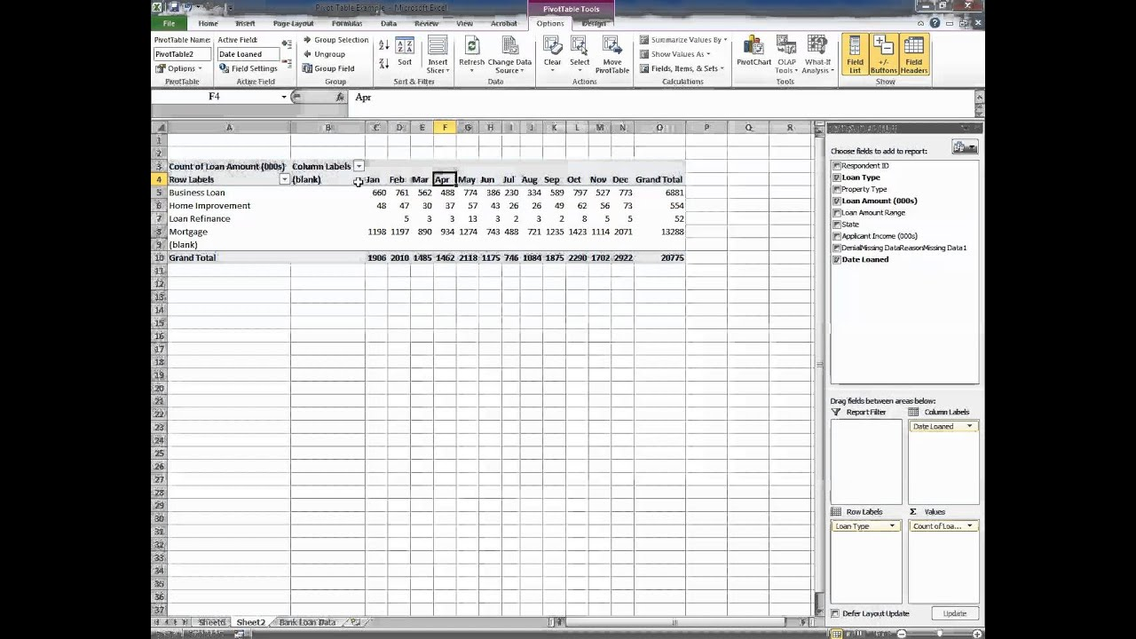 excel how to create a pivot table that has subheadings