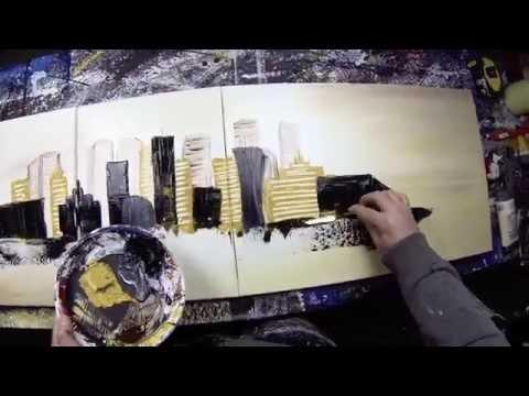 Abstract acrylic painting Demo by John Beckley HD Video - Cirisium (long version)