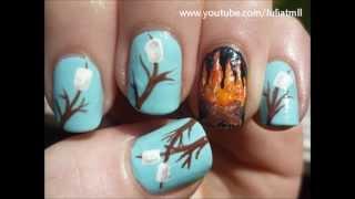 Marshmellows Roasting On Fire Nail Art Camping Tutorial Youtube