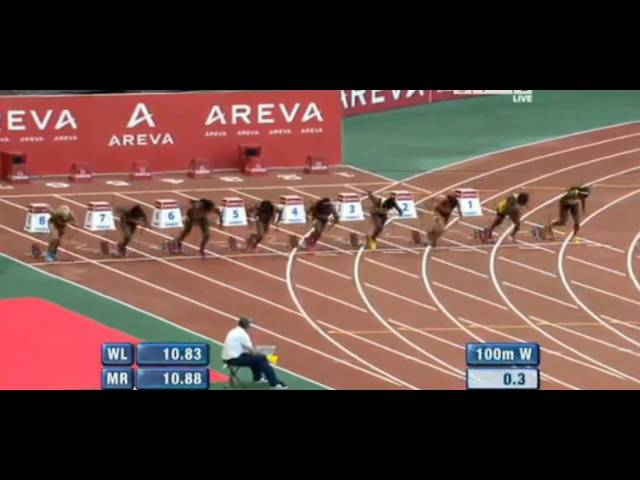 Shelly ann Fraser Pryce holds off Blessing Okagbare 10.91 - Paris Meeting Areva Diamond League 2013