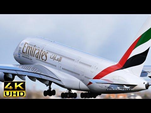 【4K】Amazing!! Close Takeoff Emirates A380 800 [A6-EOB]@Schiphol