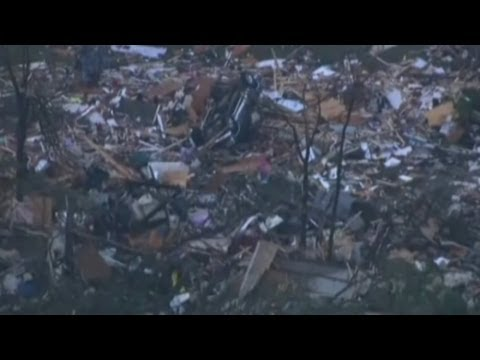 Oklahoma tornado aerials: Twister destruction