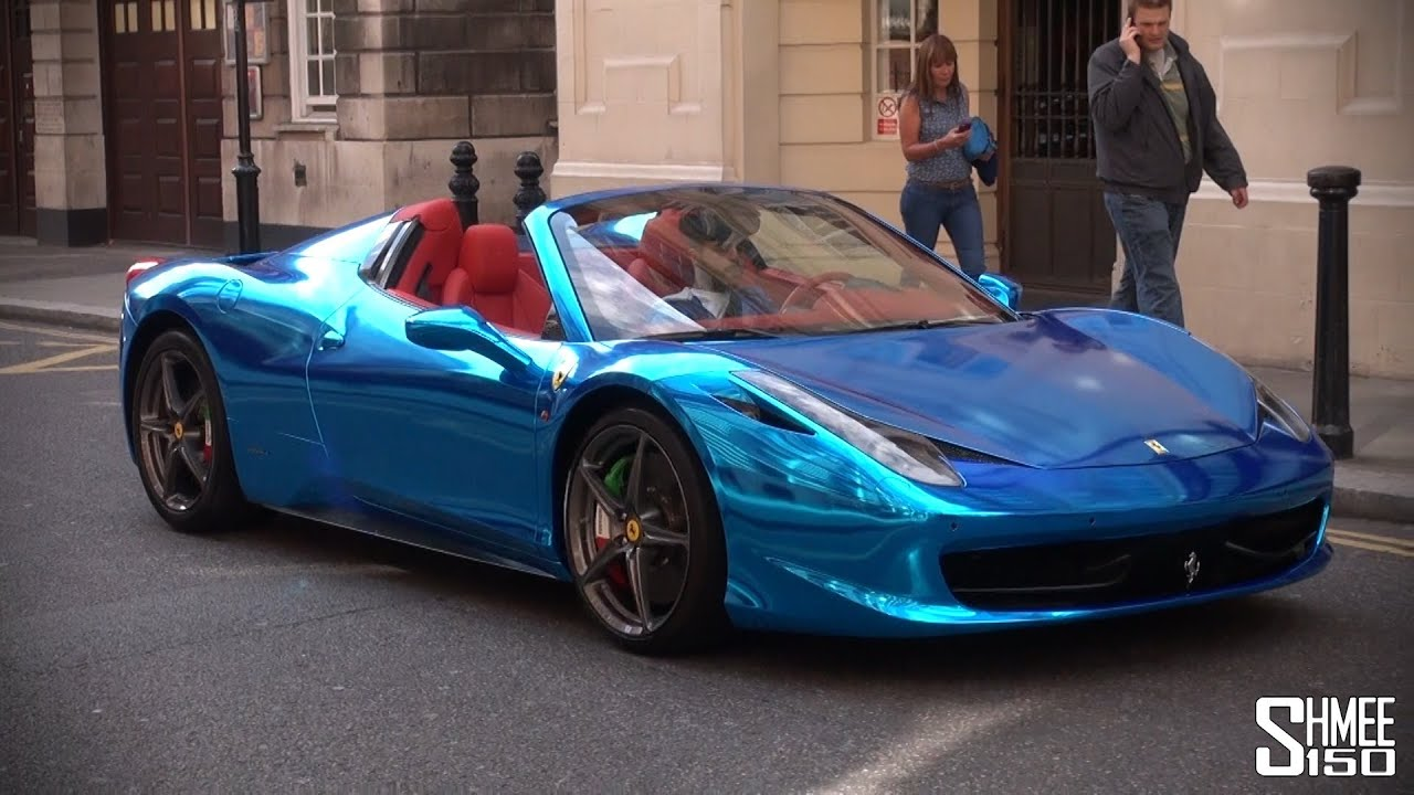 Chrome Blue Ferrari 458 Spider Supercar From Saudi