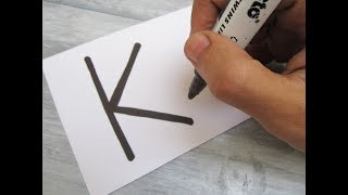 "How to turn Letter ""K"" into a Cartoon BOOK ! Fun with Alphabets Drawing for kids"