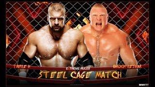 WWE Steel Cage Match Triple H vs Brock Lesnar