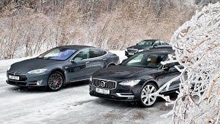 Обзор автопилотов: Tesla Model S, Volvo S90 и Mercedes-Benz E 200. Рассказ Леонида Голованова.. Тесты АвтоРЕВЮ.
