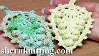Crochet Leaf With Popcorn Stitches Around How To Tutorial