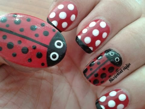 Manicura de mariquitas (facil) ☮ Ladybug manicure (easy)