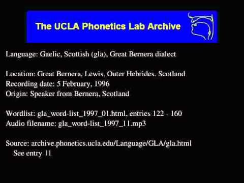 Gaelic, Scottish audio: gla_word-list_1997_11