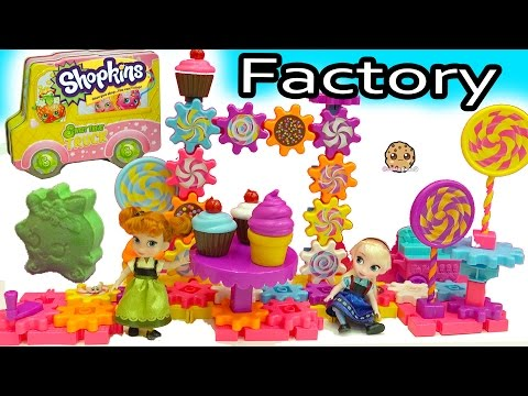Shopkins Candy Factory + Surprise Blind Bags with Disney Queen Elsa + Anna