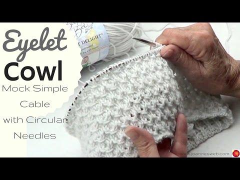Eyelet Cowl with Circular Needles