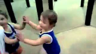 funny baby runs into mirror