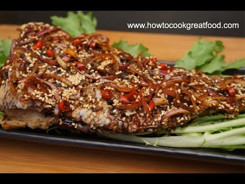 Asian Food - Fried Fish with Sesame Seeds Soy Sauce Recipe Bream ...