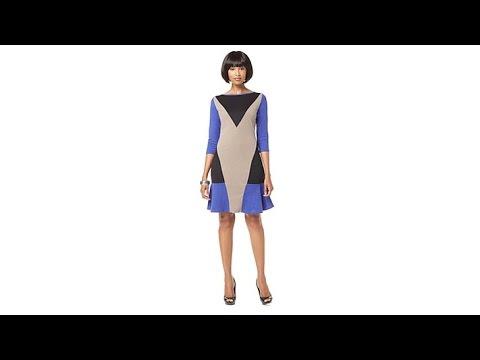 NENE by NeNe Leakes 3/4 Sleeve Colorblock Dress