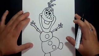Como dibujar a Olaf de la pelicula Frozen