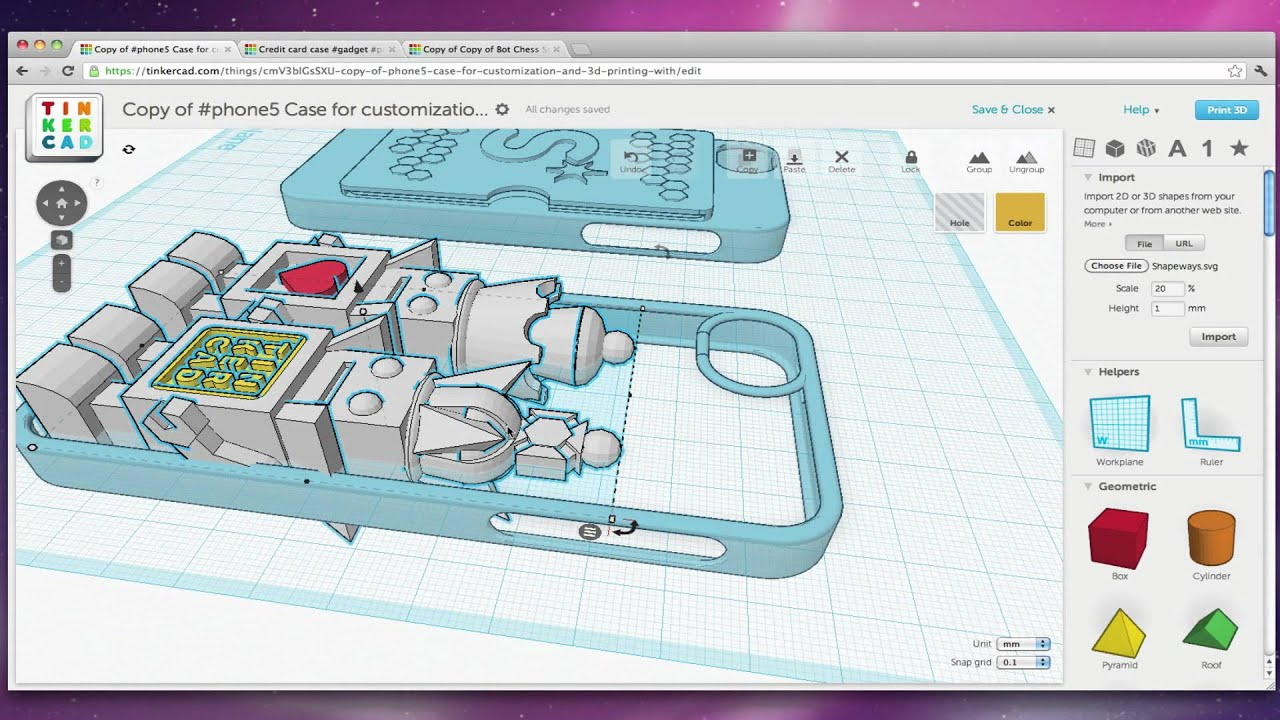 Design A Case For Iphone 5 With Tinkercad Youtube