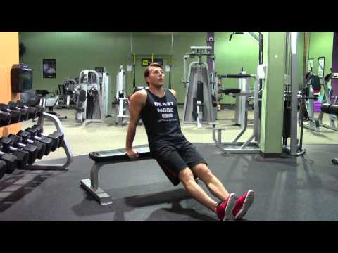 Bench Dips with Heels on Floor - HASfit Triceps Exercise Demonstration - Tricep Exercises