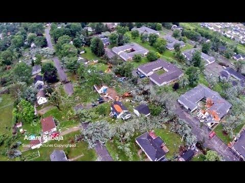 Aerial view of Kentwood tornado damage