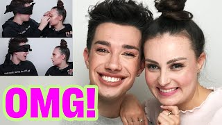 JAMES CHARLES DOES MY MAKEUP BLINDFOLDED!!!