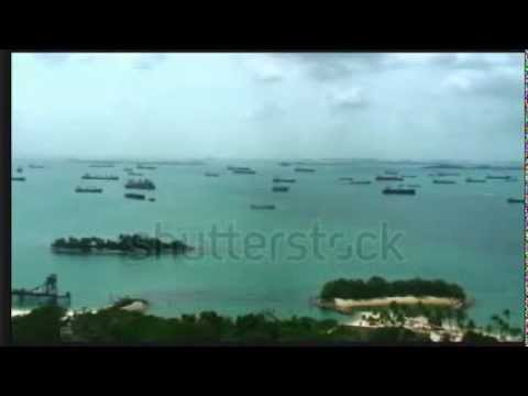 Straits of Malacca from Singapore pan)  video
