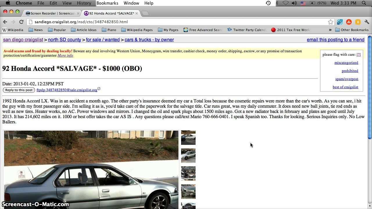 Craigslist San Diego Used Cars For Sale In January 2013 Youtube