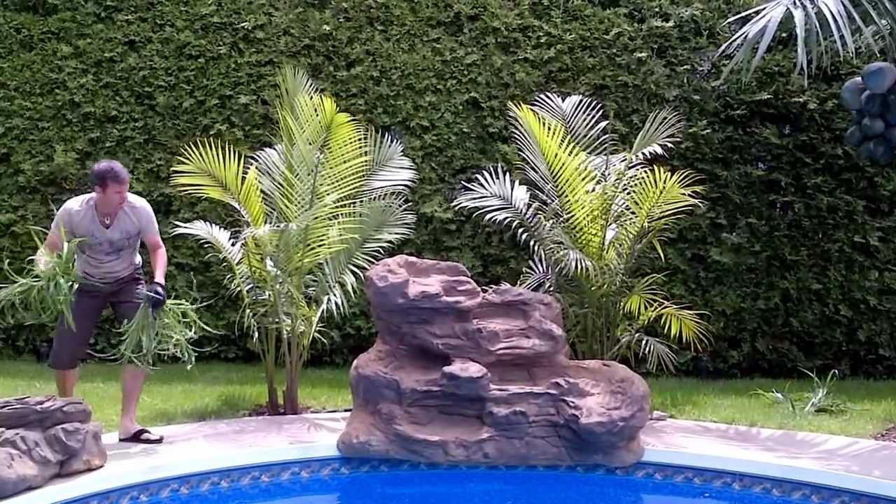 Serenity pool waterfall installation youtube for Waterfall installation