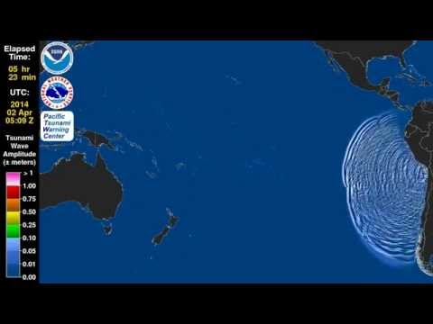 4/2/2014 -- Tsunami Animation Wave Propagation of the Chile 8.2M Earthquake