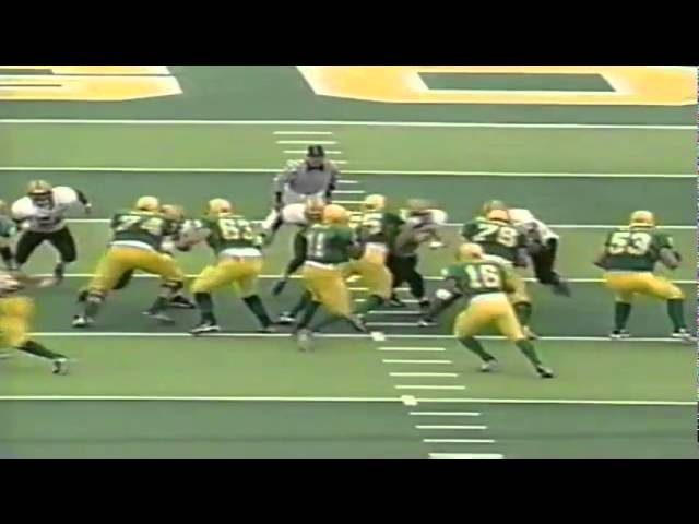 Oregon TE Jed Weaver drags defenders for a 15 yard gain vs. ASU 11-14-1998