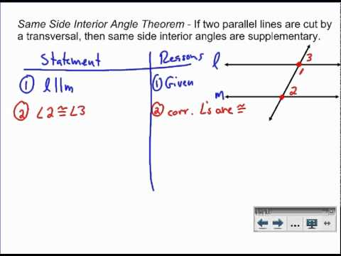 Same Side Interior Angles Proof Youtube