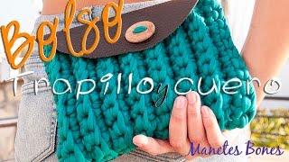 Bolso De Trapillo Y Cuero Tutorial DIY Crochet XXL