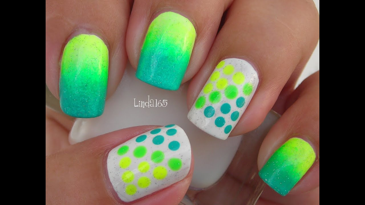 Blue and Neon Green Nail Art