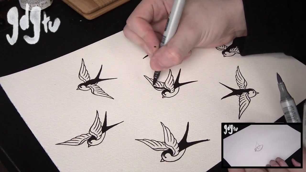 Old school swallow sparrow tattoo flash shading and for How to shade tattoos