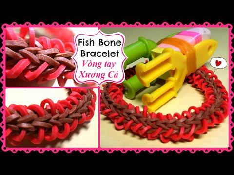 Cách làm Bàn Đan 4 ghim và Vòng Thun Cầu Vồng XƯƠNG CÁ. Rainbow Loom FISH BONE Bracelet.