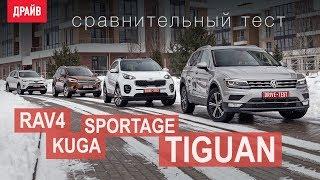 Volkswagen Tiguan • Toyota RAV4 • Kia Sportage • Ford Kuga сравнительный тест-драйв. Видео Тесты Драйв Ру.