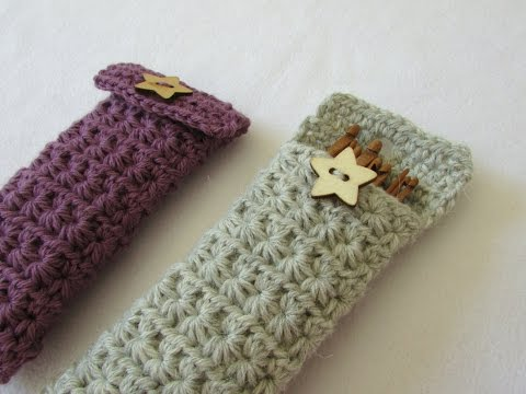 How to crochet a star stitch crochet hook case / holder