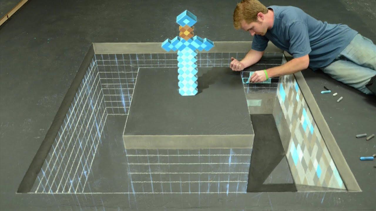 minecraft diamond sword 3d chalk art awe me artist