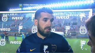 """Echeverría: """"Contento porque hubo muchos chicos"""". Arsenal 1 - Boca 1. Fecha 16. Primera 2014. FPT"""