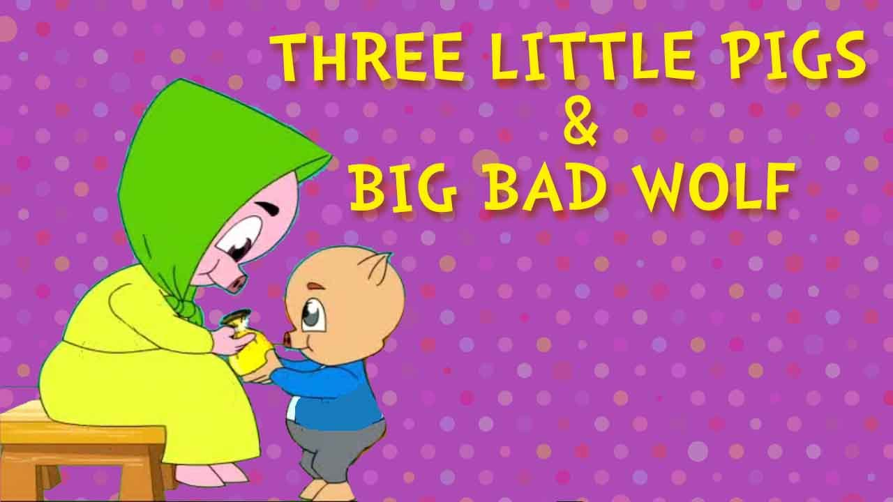 Three little pigs and the big bad wolf fairy tales animated