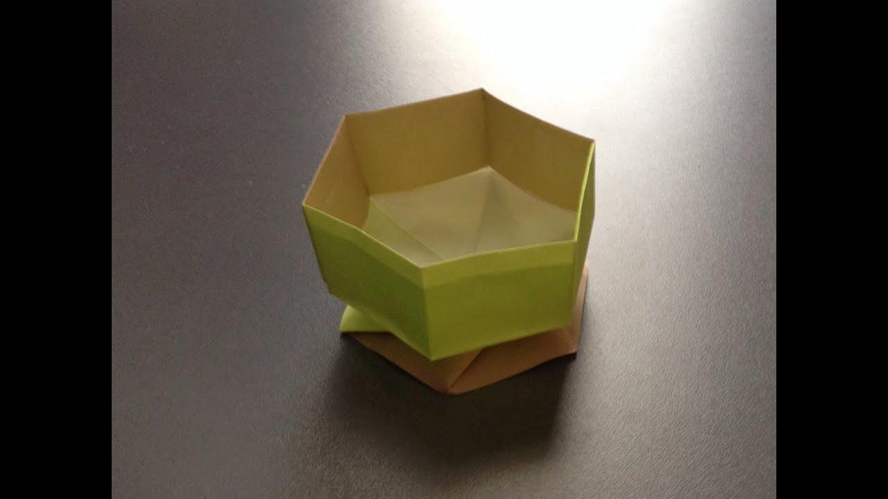 すべての折り紙 折り紙 箱 折り方 六角形 : 折り紙 すごい六角箱 折り方 ...