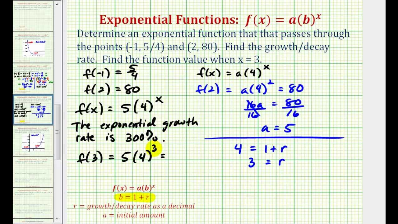 how to find a exponential function in excel