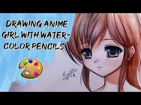 Drawing Anime using watercolor pencils - YouTube, My website: http://www.myanimediary.com Faber-Castell Pencils, the colors turns to paint when you add water =D song: Yiruma -Kiss the Rain Facebook: https://...