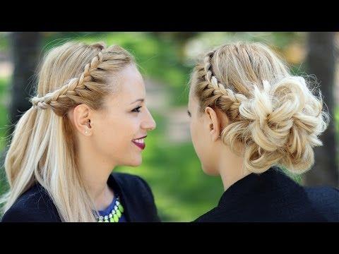 Braided prom updo + Half up half down hairstyle tutorial - Fonott  fejtetőre fésült frizura