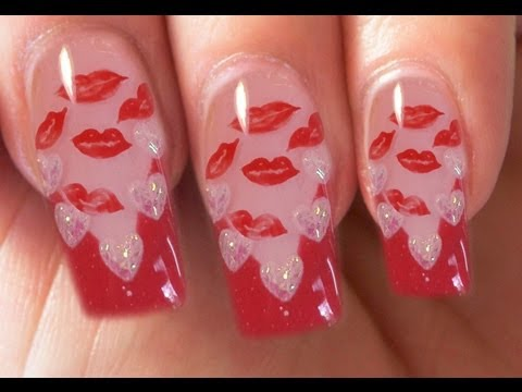 Valentines Day Special 910 Red Kisses Gel Nail Art Step By Step